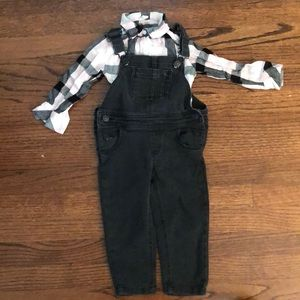Fab kids overalls and plaid top